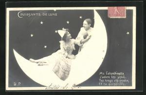 AK Harlekine auf Halbmond, Croissants de Lune, Me Colombinette, J`adore tes yeux