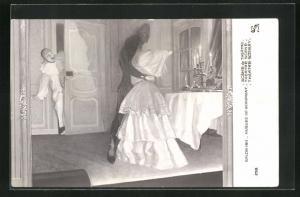AK Harlekin kommt in Zimmer und sieht schwarze Gestalt mit Frau, Theater Szene, Salon 1911, Hugues de Beaumont