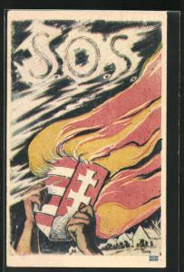 Künstler-AK Ungarn, S. O. S. Wappen mit Feuer, Dorf mit flüchtenden Menschen