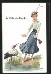 AK Erotik, Frau erschreckt sich vor einem Storch, Zu Hilfe
