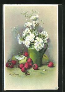 Präge-Künstler-AK Clara von Sivers: weisse Blumen in grüner Kanne mit Erdbeeren