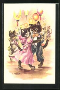 AK Vermenschlichte Katzen amüsieren sich festlich gekleidet auf einem Ball