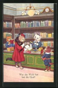AK Vermenschlichte Katzen bei der Lektüre in der Buchhandlung
