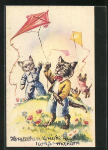 AK Vermenschlichte Katzen lassen auf der Wiese Drachen steigen