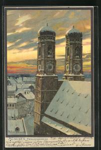 Künstler-AK Zeno Diemer: München, Frauenkirche im Winter