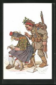 Künstler-AK Emil Beithan: Junger Soldat überrascht seine lesende Freundin