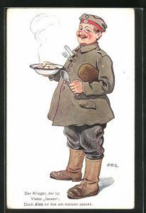 Künstler-AK P. O. Engelhard (P.O.E.): Soldat mit Teller und warmer Mahlzeit