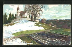 Künstler-AK Zeno Diemer: Landschaft mit Kirche und Schnee im März