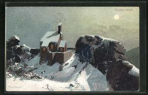 Künstler-AK Zeno Diemer: Verschneite Kirche im blassen Sonnenlicht, Dezember