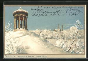 Künstler-AK Zeno Diemer: München, Englischer Garten im Winter, Monopterus