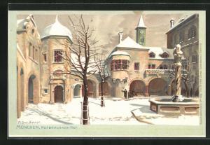 Künstler-AK Zeno Diemer: München, Hofbräuhaus-Hof im Winter