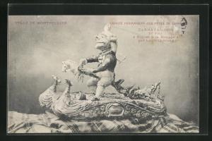 AK Montpellier, Carnaval 1909, 1er Prix Riquet à la Houppe par Louis Thérond, Figur mit Steckenpferd, Fasching