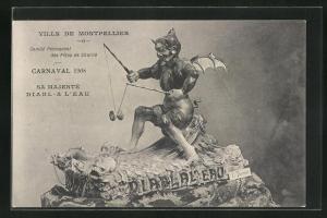 AK Montpellier, Carnaval 1908, Sa Majesté Diabl-A Ll`Eau, Teufel mit Diabolo, Fasching
