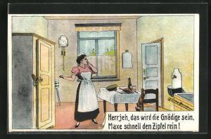 AK Dienstmädchen versteckt den Liebhaber im Schrank, Erotik