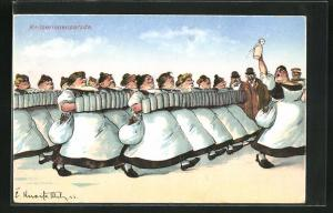AK Kellnerinnen bringen Bierkrüge zu den Gästen, Kellnerinnenparade, Trinkerhumor