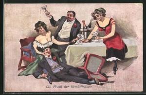AK Fröhliche Abendgesellschaft ist zunehmend betrunken, Trinkerhumor