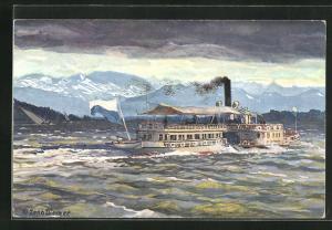 Künstler-AK Zeno Diemer: Starnberger See, Salon-Dampfer Starnberg (früher Wittelsbach) bei Gewitter-Stimmung