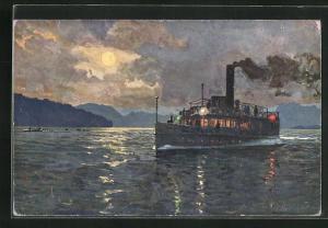 Künstler-AK Zeno Diemer: Starnberger See, Mondnacht-Fahrt vom Salon-Dampfer München (früher Luitpold)