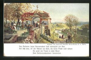 Künstler-AK Zeno Diemer: Gäste im herbstlichen Biergarten, Brauerei