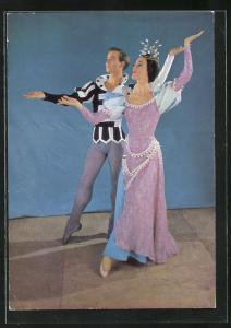 AK Scapino Ballet, Tänzerin und Tänzer in eleganter Pose, Szene aus Die Prinzessin auf der Erbse
