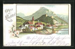 Lithographie Losenstein, Teilansicht mit Brücke