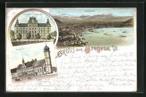 Lithographie Bregenz a / B., Ortsansicht, K. k. Post-Gebäude, Rathaus