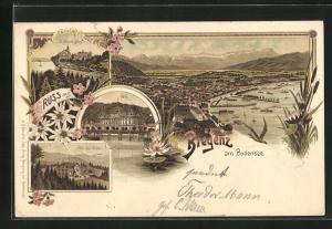Lithographie Bregenz a / Bodensee, Pfänder-Hotel, Post, Gebhards-Berg