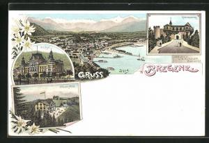 Lithographie Bregenz, Pfänder-Hotel, Gebhardsberg, K. k. Post