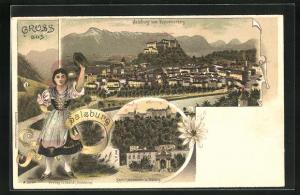 Lithographie Salzburg, Stadtansicht vom Kapuzinerberg her, Kapitelschwemme und Festung