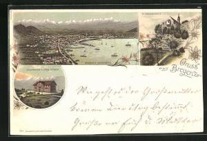 Lithographie Bregenz, Hotel Pfänder auf der Pfänderspitze, Stadt vom Buchenberg, St. Gebhardskapelle