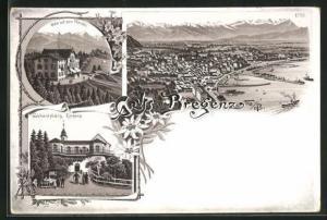 Lithographie Bregenz, Hotel auf dem Pfänder auf der Pfänderspitze, Gasthaus Gebhardsberg