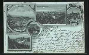 Mondschein-Lithographie Bregenz, Hotel Pfänder auf der Pfänderspitze, Plateau vom Gebhardsberg mit Gasthof