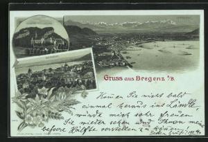 Mondschein-Lithographie Bregenz a. B., Kloster Riedenburg, Panorama mit See und Alpen