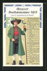 Künstler-AK Ferdinand Pamberger: Graz, Herbstmesse 1913, Da Bauernschröck auf da Stub`nolm, Tracht