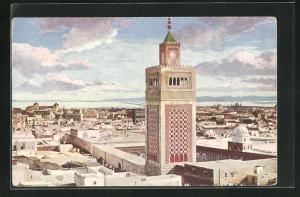 AK Tunis, Die Grosse Moschee, Häuser und Blick aufs Meer