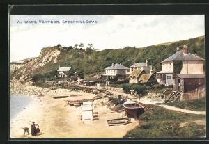 AK Ventnor, Steephill Cove, Strandpartie mit Booten und Häuser