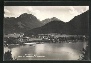 AK Strobl, Ortsansicht mit Rettenkogl und Grandhotel