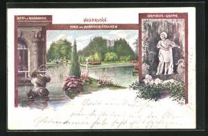 AK Salzburg-Heilbrunn, Park und Monatschlösschen, Orpheus-Grotte, Regengrotte