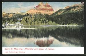 AK Misurina-See gegen drei Zinnen