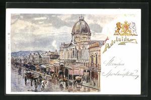 AK Adelaide, Teilansicht mit Strasse und Geschäften, Wappen