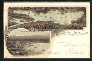 Lithographie Bregenz, Ortsansicht vom Buchenberg, Boden-See mit Arbon, Lindau u. Romanshorn