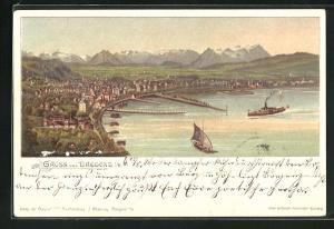 Lithographie Bregenz, Ortsansicht u. Schiff