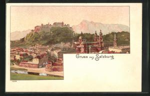 Lithographie Salzburg, Ortsansicht mit Dom, Festung Hohensalzburg und Gebirge