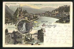 Lithographie Salzburg, Pass Lueg, Hellbrunn, Gaisberg-Bahn, Gollinger Wasserfall, Salzburg von Mülln