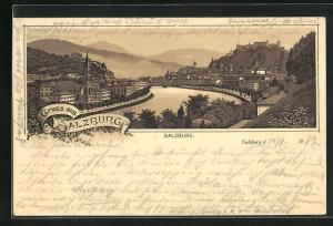 Lithographie Salzburg, Totalansicht mit Salzach, Häuser und Kirchen auf den Uferseiten