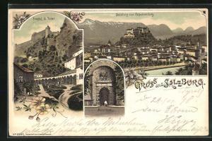 Lithographie Salzburg Friedhof St. Peter, Neuthor, Ortsansicht vom Kapuzinerberg mit Festung Hohensalzburg