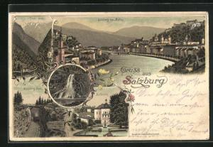Lithographie Salzburg, Hellbrunn, Gaisberg-Bahn, Pass Lueg, Gollinger Wasserfall, Ortsansicht von Mülln mit Salzach