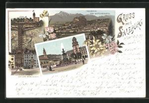 Lithographie Salzburg, Residenzplatz, Electrischer Aufzug auf den Mönchsberg, Ortsansicht vom Kapuzinerberg, Edelweiss