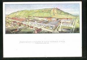 AK Santa Vittoria d`Alba, Stabilimenti Cinzano di Santa Vittoria d`Alba, Fabrikansicht