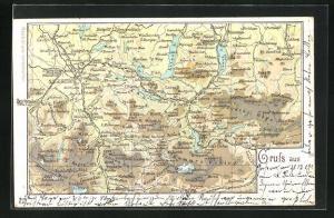 Lithographie Bad Ischl, Landkarte, mit Steinbach, Höllen u. Salzburg